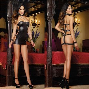 New Sexy Faux Leather Dress Erotic Pole Dance Wear Erotic Catsuit Pvc Beyonce Dress Sex Suit Halloween Costumes T200707