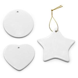 Пустой белый сублимация пустые керамические кулон рождественские украшения тепло передача печать DIY орнамент сердца круглые рождественские украшения
