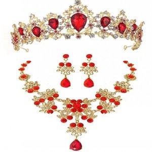 خمر الذهب الباروك الأحمر الأخضر الأزرق كريستال قلادة الزفاف أقراط تيارا مجموعة الزفاف الخرز الأفريقي مجموعات مجوهرات Y8OE