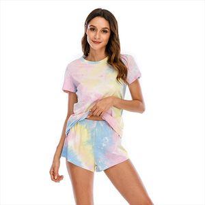 Casual Tie dye Print Home Wear Two Piece Shorts Set Women 2020 Summer Short Tshirt And Shorts Outfits Womens Loungewear S 5XL