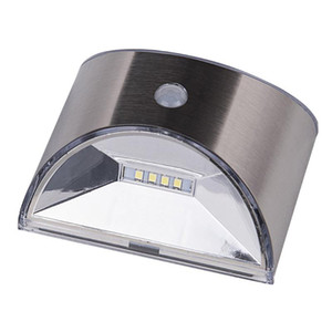 Waterproof Solar Powered PIR Motion Sensor Light Stainless Steel Outdoor LED Wall Lamp for Garden Yard Pathway