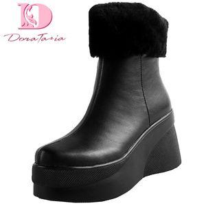 Doratasia 2020 New Arrivals Genuine Cow Leather Platform Ankle Boots Woman Shoes Zip Up Concise Shoes Women Boots Female