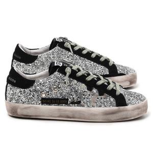 2021 Itália Deluxe Marca Sneakers Dourado Lantejoula Clássico Branco Do-velho Sapatos sujos Ganso Designer Superstar Homem Mulheres Casual Sapatos