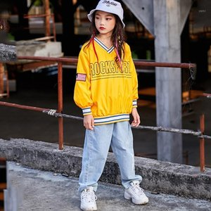 Bambini Hip Hop Dance Bust Girls Jazz Modern Dancing Costumes Costumi Giallo Felpa Pantaloni Hiphop Abbigliamento Ballroom Stage Outfits DQS3301