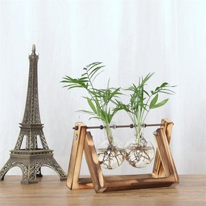 New Living Room Decorations Flower Container High Grade Home Decor Wooden Frame Transparent Hydroponic Plant Vase 15fm Ww