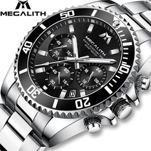 Megalith Moda Erkek Saatler Üst Marka Lüks Chronograph Su Geçirmez Colck Erkekler İzle Gents Reloj Hombre Spor Bilek İzle LJ201124