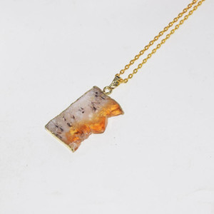 Natural Slice Raw Citrines Gold Point Pendant Necklace Female 2020 Rectangle Rough Yellow Crystal Quartz chain necklace women