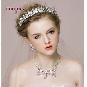 CHUHAN Luxury Crystal Bridal Jewelry Sets Rhinestone Tiaras Crown Necklace Earrings for Bridal Wedding Jewelry Set C358 Q1123