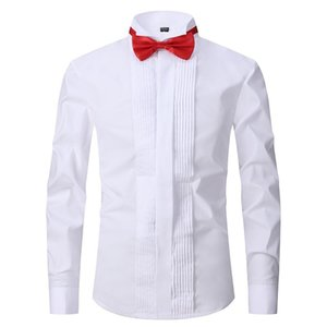 Shirt Men's Long-sleeved Large Size Swallow Collar Slim Groomsman Dress Wedding Groom Party Show White Shirt