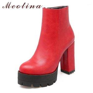 Meotina inverno caviglia stivali da donna tacco alto stivali da moto piattaforma rotonda punta blocco tacco corto scarpe femminili Black1