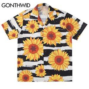 Gonthwid подсолнечника цветы печати с коротким рукавом полоса гавайский пляж алоха рубашки летние повседневные топы стрит одежды мужчины хип-хоп рубашка J1216