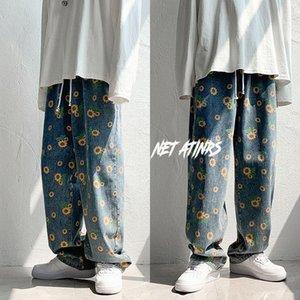 Jeans Men's Loose Washed Casual Denim Pants Printed Sunflower Elastic Waist Straight Wide Leg Cowboy Pants Hip Hop Fall Winter