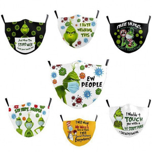 2021 US Stock Grinch Stole Christmas 3D Print Black Cotton Cosplay face Masks washable reusable dust proof Adults fashion face mask