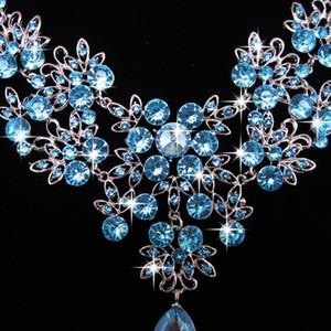 2020 New Alloy Rhinestone Earrings Pendant Necklace Bridal Set