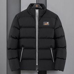 Zipper Down Jacket Men Thicken Polyester Hooded Casual Oversized Jacket Long Sleeve Veste Homme Hiver Winter Coat DE50MMF