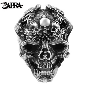 ZABRA Real 925 Sterling Silver Skull Ring Men Adjustable Dragon Ring Punk Rock Many Skeletons Mens Gothic Halloween Jewelry J1202