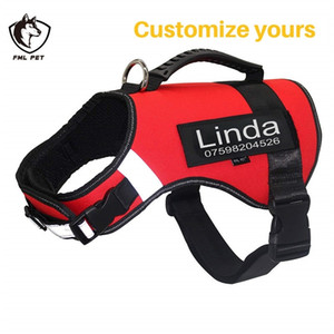 FML Pet Harnesses Personalized Custom Patches Label for Collar Harness Vest Training Walking No Pull Vest for Large Dogs ID Tags Y200515