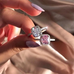 Classic Brand New Women Fashion Jewelry 925 Sterling Silver Cushion Shape Multi Gemstones CZ Diamond Eternity Women Wedding Bridal Ring Gift