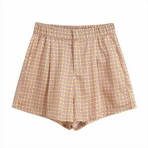 New 2020 women vintage floral geometric print Shorts ladies pocket casual slim shorts chic elastic waist pantalone cortos P625