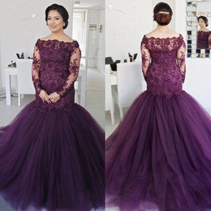 Dark Purple Long Sleeves Mermaid Lace Evening Dresses 2021 with Beaded Appliques Sweep Train Tulle Formal Prom Party Gowns Robe De Soiree