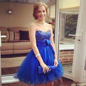 Short Tulle Homecoming Dresses with Sash Beaded Sweetheart Bridesmaid Dresses Cheap Party Graduation Gowns