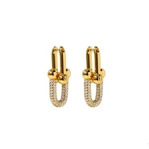 2020 Stylish diamond copper plated U stud women earrings silver rose gold fashion designer earings