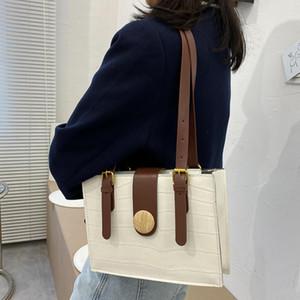 Kadınlar Retro Katı Renk PU Deri Çanta Tote Çanta Rahat Taş Desen Omuz Çantası 25 * 46 * 6.5 cm