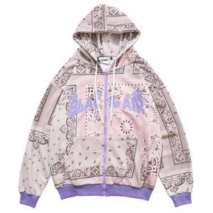 Herren Hip Hop Pullover Hoodies Gestickter Bandana Patchwork Voller Reißverschluss Mit Kapuze Sweatshirts Jacken 2020 Harajuku Casual Tops Y1112