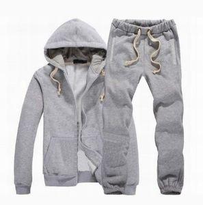 Neue Männer Trainingsanzug Winter Kapuze Jacke + Hosen Sweatshirts 2 Stück Set Hoodies Sport Anzug Sport Mantel Sportswear