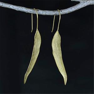 Lotus Fun Real 925 Sterling Silver Natural Original Handmade Fine Jewelry Vintage Long Leaves Drop Earrings for Women Brincos B1205