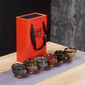 6 unids Cerámica Cerámica Eware Teaware Chino Kungfu Tea Set TeaCup Sake Cops 50ml Master Cup Pequeño té Tazas De Sqcsub