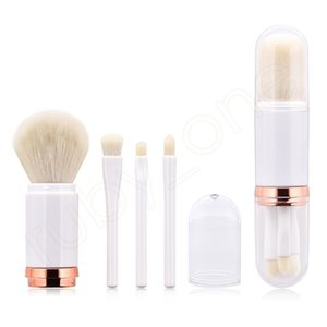 4 In 1 Makeup Brush Set Telescopic Double Head Brushes Powder Eye Shadow Highlight Brush Kit