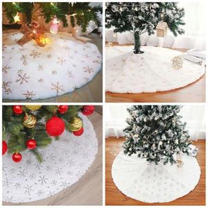 Christmas Decorations Ice Crystal Snowflake Tree Skirt New Tree Apron Creative Christmas Fur 90cm Skirt G8C2