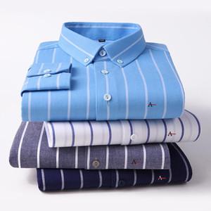 high-quality 100% Cotton Aramy Camisas Men Shirt Long Sleeve Regular Fit Men Stripe top grade cotton Shirts Dress