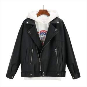 New Arrival Ladies Solid Spring Autumn Leather Jacket Women Oversized Korean Style PU Jacket Female Faux Chic Coat Outwear Black