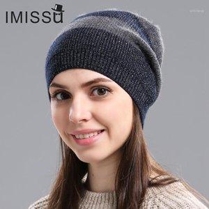 IMISSU Autumnwinter Damenmützen Gestrickte Echtwolle Skullies Design Modernes Casual Cap Gorros Casquette Hut für Mädchen1