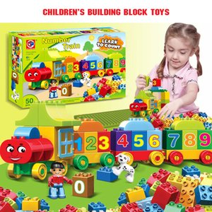 50pcs Large Particles Numbers Train Building Blocks Bricks Educational BabyCity Toys Compatible With Duplo DIY Q1126
