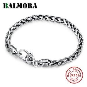 Balmora Solid 925 стерлингового серебра Vajra Six Word Sutra Буддийский браслет для женщин Мужской аргумент Homme Whip Винтажные ювелирные изделия 201211