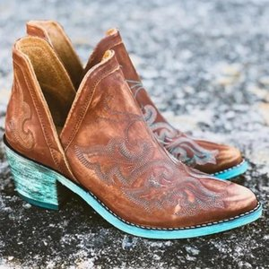 Autumn Winter Casual Western Cowboy Ankle Boots Women Leather Cowgirl Boots Short Cossacks Botas High Heels Shoes Botas Mujer