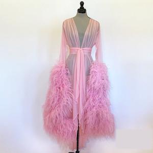 Women's Fur Photography Dress Robe Sexy Nightgown Ruffles Sleepwear Lace Tulle Long Bathrobe Pajamas Prom Bridesmaid Shawel