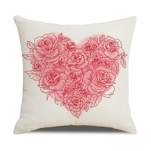 Valentines Day Pillow Case Plaid Linen Throw Pillow Cover Printed Decorative Pillows Cushion Covers Home Car Hotel Decoration YYS3110
