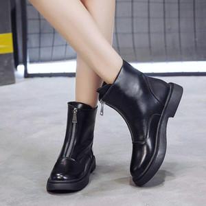 الأحذية النسائية الأحذية النسائية الكاحل 2020 الخريف النمط البريطاني سستة الجلود شقة مع أحذية قصيرة دراجة نارية