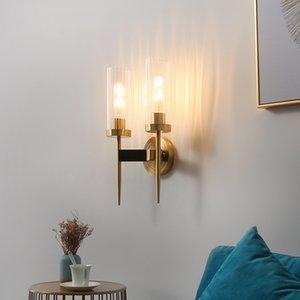 American Retro RH Copper Edison E27 Led Wall Lamp Living Room Lustre Glass Shades Sconces Lustre Luminarias Lamparas Lamp
