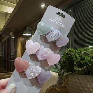 Корейский сердечный акриловые зажимы для волос Pins Sweet Acetate смола пружинные волосы для волос для женщин девушки модные аксессуары головные уборы