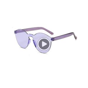 Transparenter neuer Film Jelly verbunden 50pcs-- Sunglasses und integrierte Süßigkeiten Marine Color America rahmenlose Sonnenbrille GQPFM