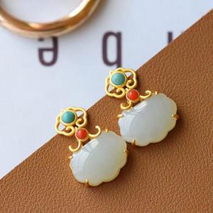 SNew silver inlaid natural Hetian white jade purse Ruyi small lock earrings retro temperament charm senior women's brand jewelry