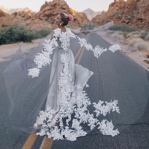 New White Ivory Long Tulle Wraps Lace Appliques Top Bridal Bolero O Neck Custom Made Shawl Jackets