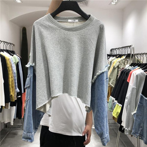 New Pattern Round Collar Long Sleeve Denim Patchwork Pullovers Streetwear 2020 Spring Sweatshirt Women Clothes Drop Shipping