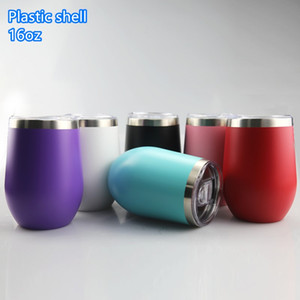 colorful 16oz wine tumbler with lid stainless steel wine glasses 2 layer vacuum insulated champagne mug coffee mugs with plastic shell