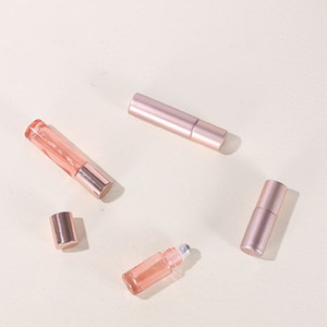 Hot Selling 5ml 10ml Glass Roll On Bottle For Perfume Essential Oil With Metal Roller & New Pink Gold Lid